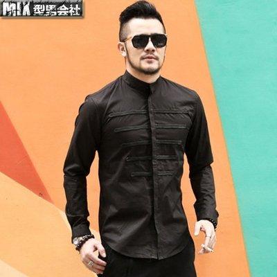 【MIX 型男會社】 11/20 新款英倫男裝設計感織帶裝飾男裝黑色長袖襯衫男士修身襯衣潮 XNHS3260