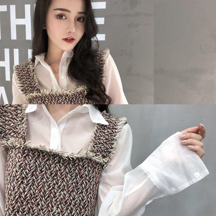 兩件式 套裝 組 正韓版韓版chic2018新款毛邊短款吊帶+透視長袖襯衫兩件套女小香套裝潮8-8