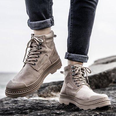 星韓印象~馬丁靴男高幫英倫工裝男鞋戰狼軍靴男士沙漠靴子夏季透氣帆布靴潮