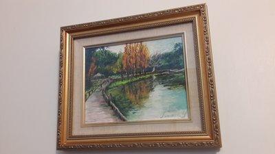 銘馨易拍重生網 PF11 福山植物園美景 粉彩畫 經典特色框 當代畫家 款如圖 值得收藏 意境美