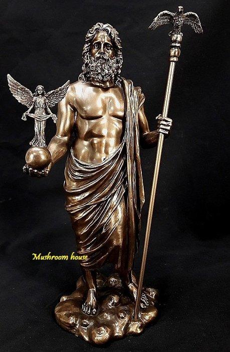 點點蘑菇屋 歐洲進口雕塑宙斯與女神仿銅雕像 希臘神話雕像擺飾 老鷹拐杖 藝術雕像 現貨 免運費