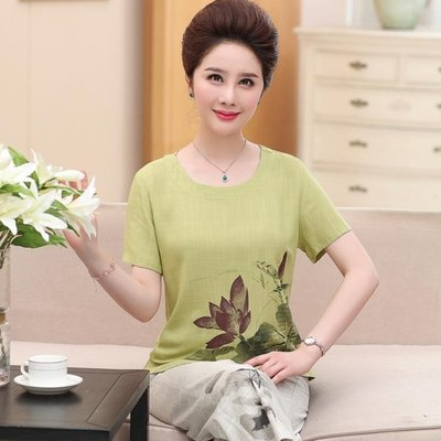 中年媽媽裝棉麻兩件套衣服50歲中老年女裝短袖T恤休閒套裝 全館免運 全館免運