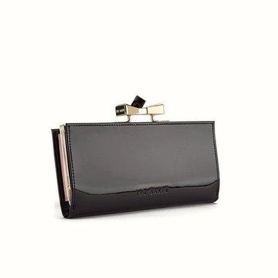 《已售出》[Allie.O~]  Ted Baker 黑色單鑽蝴蝶結亮面真皮長夾皮夾,英國購入