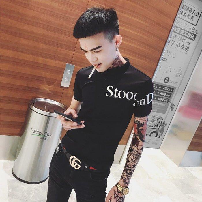 夏季韓版男士潮流個性帥氣百搭男polo衫緊身短袖T恤 POLO衫 男士衣著 短袖 大尺碼 素面衫