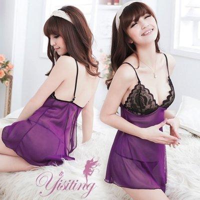 @微妙滋味!性感蕾絲薄紗透視睡衣(紫)...