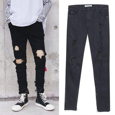 『潮范』 S11 男士高街膝蓋破洞黑色牛仔褲 腳口拉鏈鉛筆褲 牛仔長褲 小腳褲NRG1073