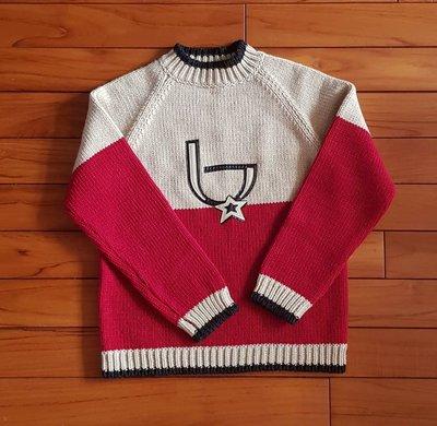 MADE IN ITALY 義大利製byblos紅+象牙白拼色 真皮小b保暖毛衣粗針織上衣