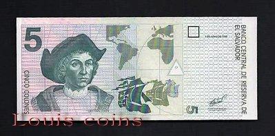 【Louis Coins】B105-EL SALVADOR-1998薩爾瓦多鈔票5 Colones