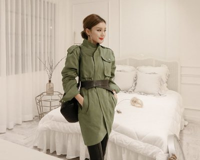 原宿 軍綠立領工裝風衣外套 附腰帶GSSAW.AJ 【JKQ0711】