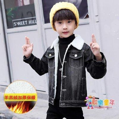 男童外套加絨加厚冬裝新款兒童保暖夾克中大童男孩牛仔棉服潮