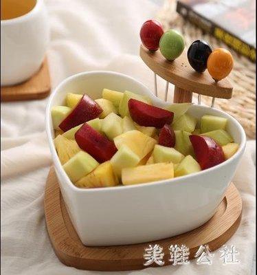 創意干果盤陶瓷沙拉碗帶叉家用水果盤碗北歐客廳糖果盤小吃點心盤 st3866