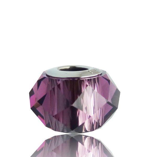 原價550元85折468元 銀飾【swarovski施華洛世奇-深紫圓晶】charms 水晶 串珠A8001140524