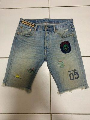 LEVI'S 501TYPE 34512-0038 CUTOFF DENIM SHORT 貼布牛仔短褲 W30