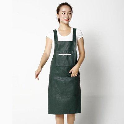 皮革背心式PU圍裙防水防油廚房做飯罩衣成人男女圍腰 夏季上新