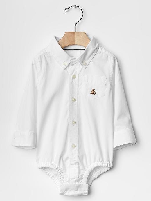 【BJ.GO】美國GAP童裝 baby_Oxford button-up bodysuit 帥氣純棉襯衫連身裝/兔裝