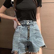 短褲 熱褲 褲子女韓版高腰顯瘦水洗做舊撕邊闊腿褲網紅牛仔 短褲