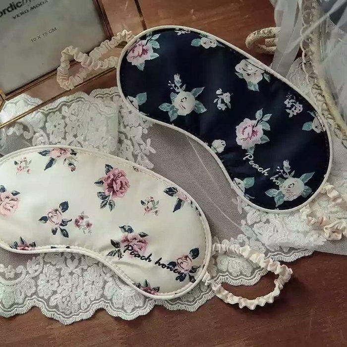 粉紅玫瑰精品屋~進口棉復古花朵刺繡字母可愛鬆緊 遮光眼罩~