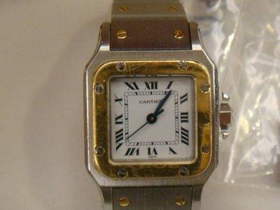 賠售換現二手真品CARTIER卡地亞SANTOS山度士半金自動錶  女錶