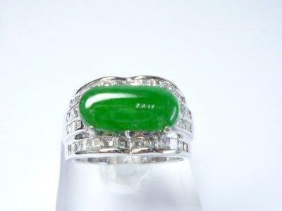 【連漢精品】天然緬甸翡翠A貨 滿綠翡翠戒指 冰種翡翠 馬鞍戒指正18 k金 天然鑽石~11號圍