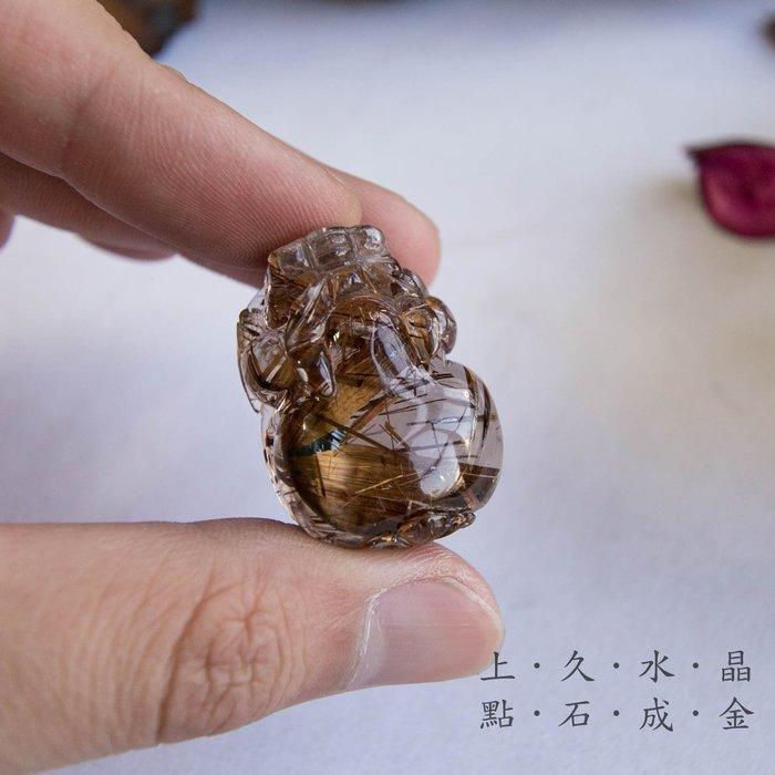 『上久水晶』_頂級銅鈦晶貔貅吊墜/擺件__33*23*17mm