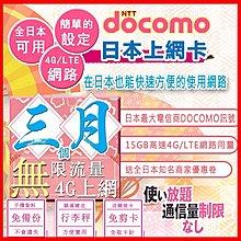 *日本好好玩 超商免運費*3個月 90天 日本上網卡 15GB高用量 4G 吃到飽 送行李秤 日本docomo sim卡