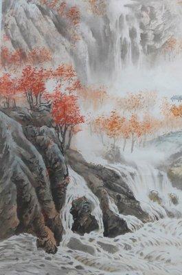 國畫 裱框畫 水墨畫 掛軸畫 擺飾畫  山水 有款 作者未查 品優 收藏 擺飾
