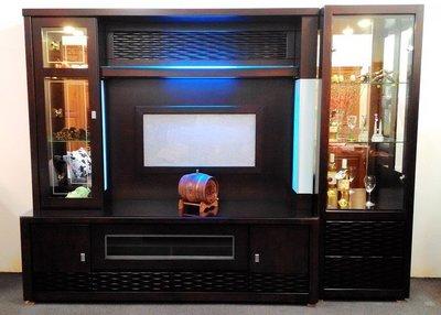 【名佳利家具生活館】藍光8.3尺高級胡桃酒櫥(附面玻) 酒櫃 高低櫃 可拆買電視櫃 展示櫃 另有烤亮白色 桃園區免運費