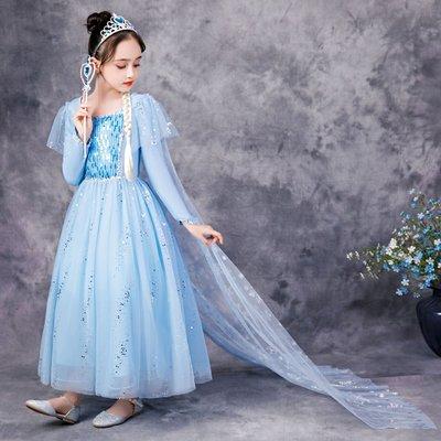 baby秀童裝禮服店 冰雪奇緣艾莎蓬蓬公主裙新款愛莎正版連身裙艾沙秋冬長袖演出禮服
