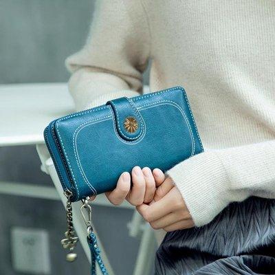 女士錢包2018新款長款韓版多功能復古簡約手拿包零錢拉鏈手機包女
