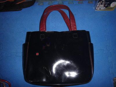 ~保證真品 BALLY 黑色的真皮和漆皮款肩背包 置物方包 手提包~便宜起標無底價標多少賣多少