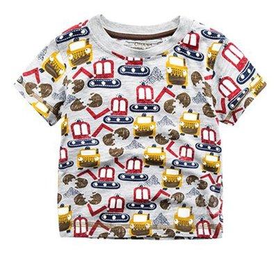 【Mr. Soar】 **清倉** G233 夏季新款 歐美style童裝男童滿印挖土機短袖T恤 現貨