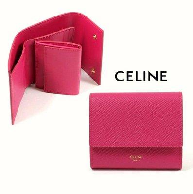 CELINE ► (  紫桃紅色×金色LOGO )  防刮壓紋 真皮三摺短夾 錢包 皮夾|100%全新正品|特價