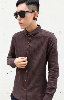 〝MU〞SHOP 小版男裝 0125新款//韓版直條紋修身襯衫-3色//咖啡色