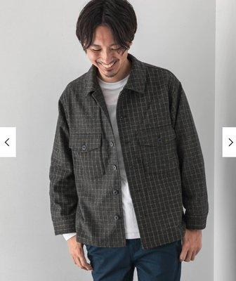 【傑森精品】日本 urban research 厚實保暖 羊毛呢 OVERSIZE 寬鬆 CPO襯衫式 工作外套 夾克