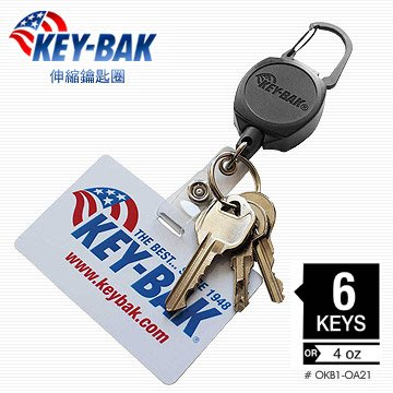 【IUHT】KEY BAK-Sidekick 伸縮鑰匙圈(ID卡片,識別證扣環+鑰匙圈) #0KB1-0A21