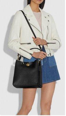 COACH 55200 新款女士水桶包 全素色 雙隔層旋扣式單肩斜挎包 簡約時尚