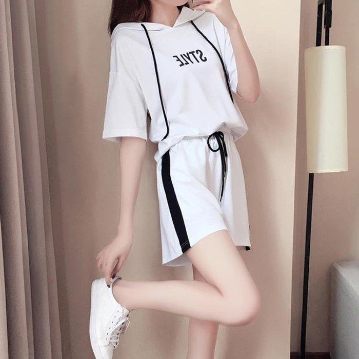 休閒服 休閒運動套裝女2018夏季新款韓版時尚連帽大碼短袖短褲兩件套潮
