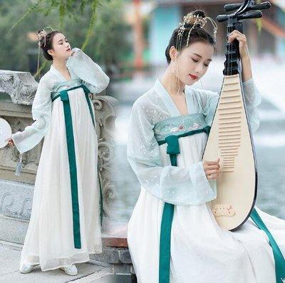 莎芭 精品漢服 元素優雅淑女氣質複古印花刺繡襦裙 洋裝