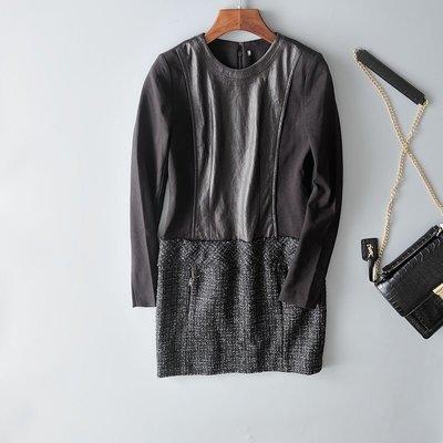 名媛! 黃蕙玲 秋冬 圓領拼接修身洋裝H2023L--黑S/M/L/XL