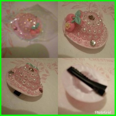 new pink color hair clip no.1  small hat