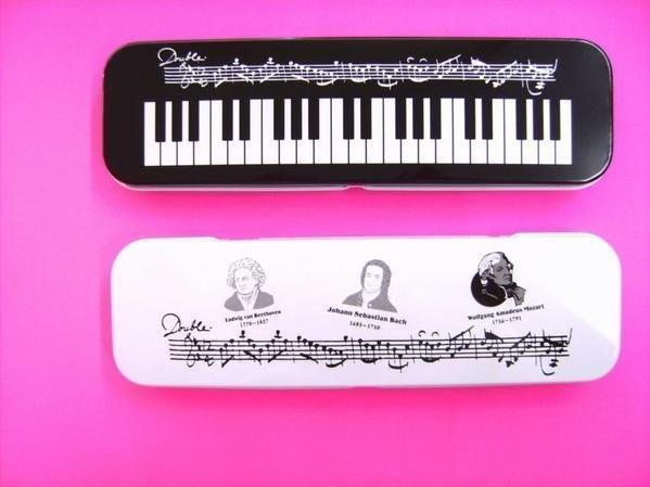 ╰☆美弦樂器☆╯白底人頭音符.黑底音符鍵盤鉛筆盒