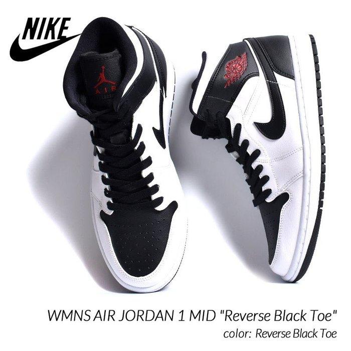 jordan 1 mid reverse black toe