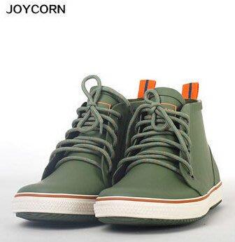 Joy Corn時尚系帶男士雨鞋帆布男式低幫雨靴戶外釣魚鞋