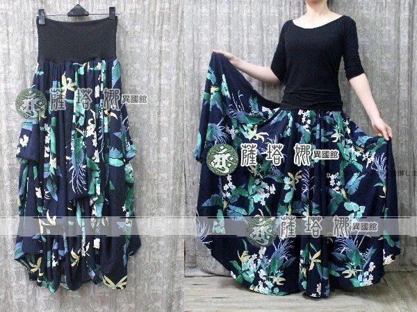 @~薩瓦拉: 加大限量款_2穿反摺_深藍底黃白水仙綠葉_內綁繩。洋裝/圓裙//大溪地舞/草裙舞