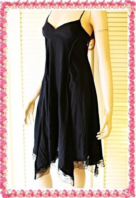 ARMANI EXCHANGE A/X 100% SILK黑色馬甲式細肩帶不對稱蕾絲裙襬洋裝