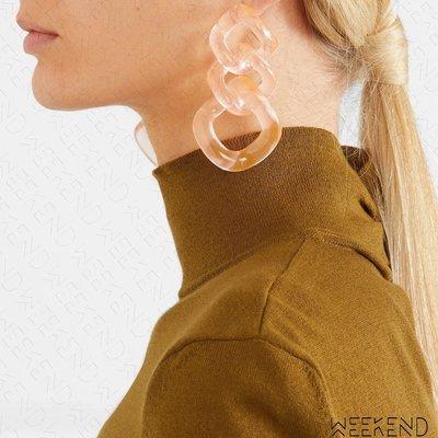 【WEEKEND】  VALET Romane 大尺寸 鍊條造型 半透明 一對 耳環
