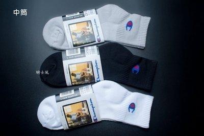 買5雙送1雙 騎士風~ CHAMPION 運動襪 加厚底 (腳踝 中筒 長筒) 黑白灰三色任選 襪子