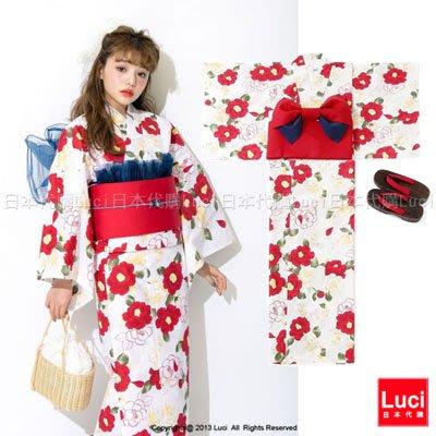 浴衣 優雅可愛山茶花 花朵浴衣和服三件組 吉木千沙都 日雜款  LUCI日本代購 [giu906kx]