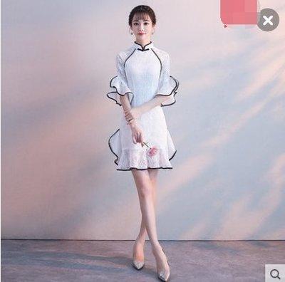 旗袍改良2018新款時尚現代名媛小香風少女性感修身夏季中國風短款 (主圖款)