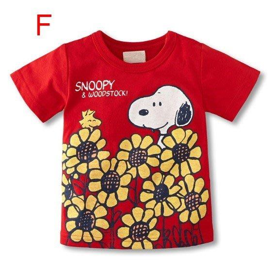 現貨~ F款女童紅色卡通短袖T恤~ 小確幸衣童館純棉可愛史努比圖T 卡哇衣